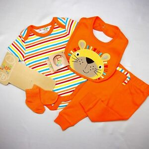 Klug Süßes 4 Tlg. Unisex Baby Strampler (body Set) (lÖwe ) Gr.56,62,68
