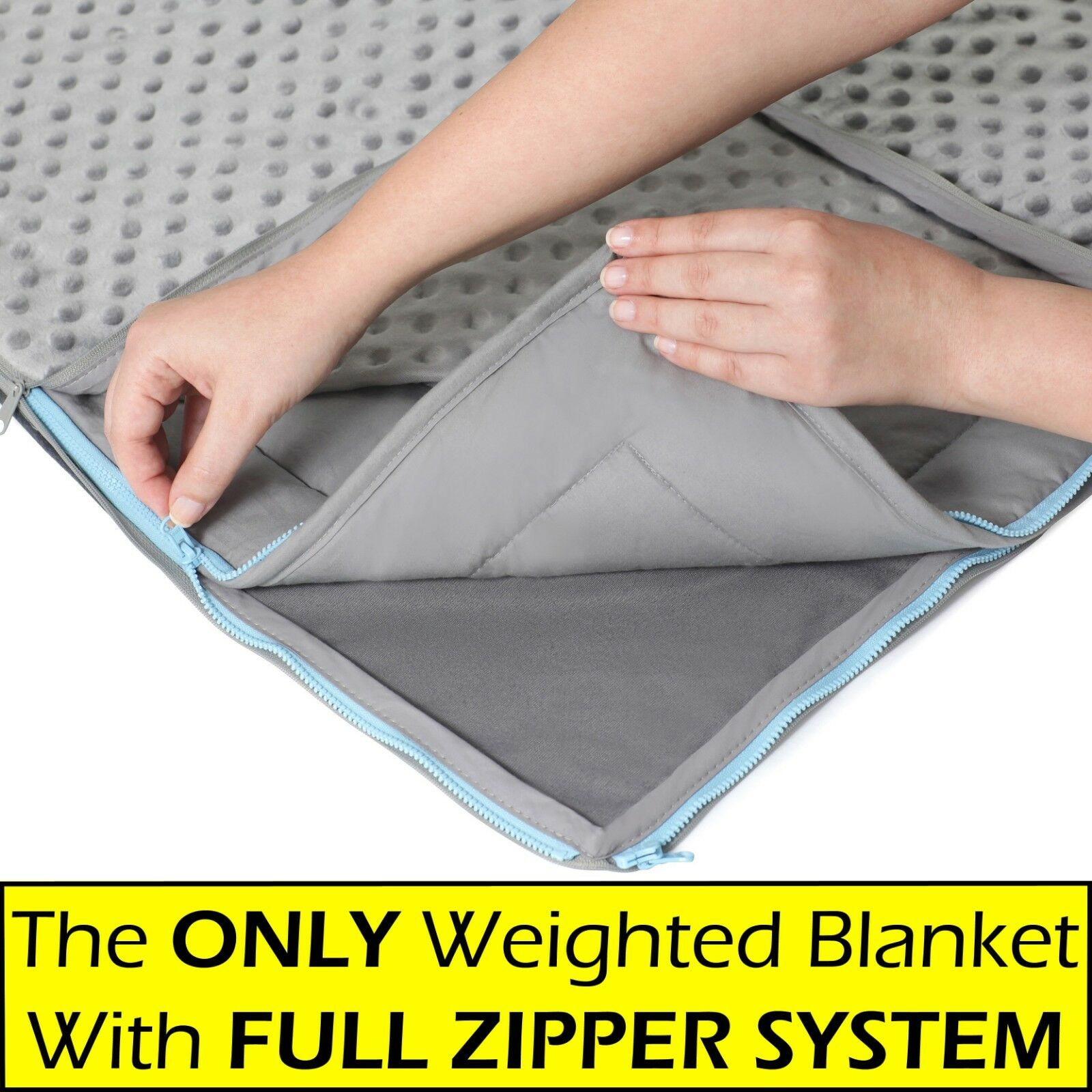 15lb Weighted Blanket & FREE MINKY Cover - For Adults & Kids, Full Zipper System