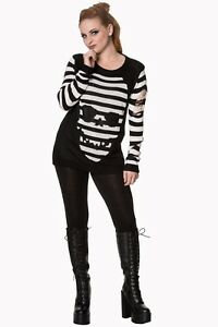 Black-amp-White-Stripes-Skull-Gothic-Punk-Knitted-Top-Jumper-By-Banned-Apparel