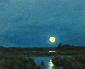 Featured Full Moon Impressionism Art Oil Painting Landscape Tonalist Realism