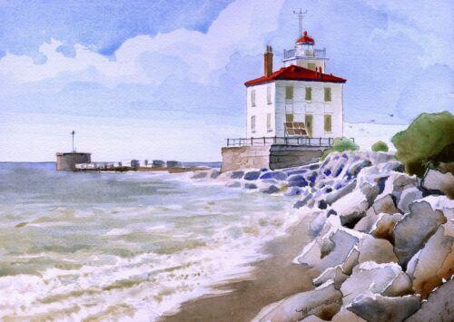 James Mann Prints Ohio Lake Erie Fairport Harbor West Breakwater Lighthouse