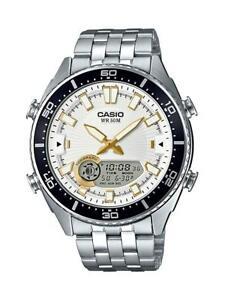 Casio-Men-039-s-Quartz-Ana-Digi-Tide-Graph-Silver-Tone-44mm-Watch-AMW720D-7AV