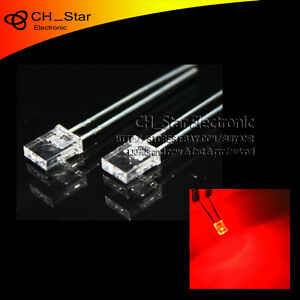 100pcs-2x5x7mm-Plaza-Diodos-Led-Agua-Transparente-Luz-Roja-rectangulo-Rectangular