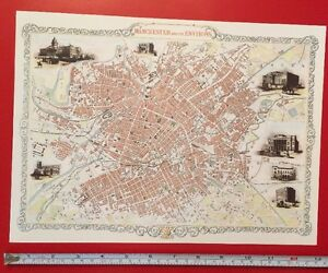 Map Of England 1800.Details About Old Antique Colour Map Manchester England 1800 S 1851 12 X 9 Tallis Repro