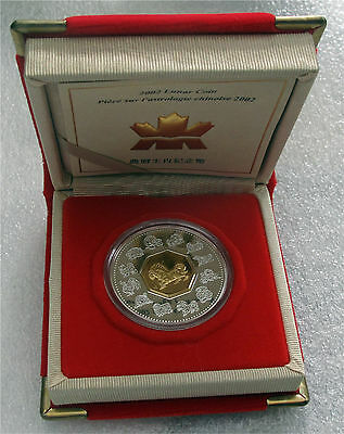 2002 CANADA SILVER $15 DOLLARS LUNAR YEAR COIN HORSE PROOF GILDING
