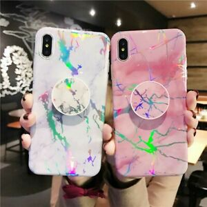 Laser-Marble-Pattern-Stand-Holder-TPU-Case-Cover-iPhone-XS-Max-XR-X-6S-7-8-Plus
