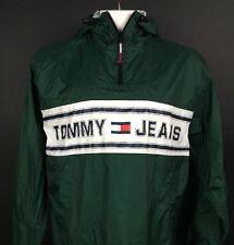 Vtg Tommy Hilfiger Jeans Men's XL 1/4 Zip Windbreaker Jacket Pullover Spell Out