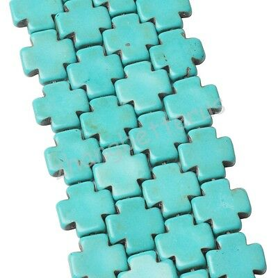 Natural Wholesale 25 Pcs  Box Cross Loose Turquoise Charms Spacer Beads 15 mm