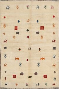 Tribal-Ivory-Geometric-Gabbeh-Area-Rug-Wool-Hand-Knotted-Oriental-Carpet-4x6-New