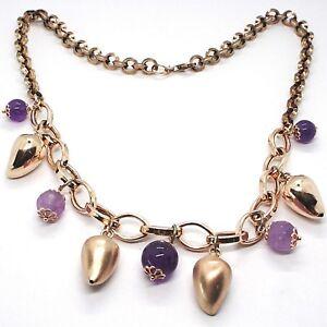 Collar-Plata-925-Rosa-Amatista-Violeta-Guindilla-Domed-Colgantes