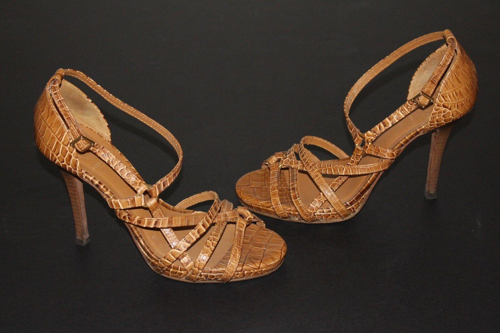 Tory Burch 9 M Tan Croc Embossed Leather Sandal 4.25  Heel Ankle Strap Platform