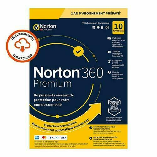 Norton 360 Premium 2020 10 App 10 PC 1 an PC 2019 PC MAC Internet Security FR EU