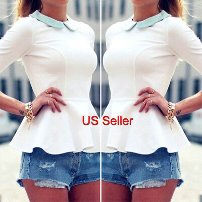 Women's Ladies Summer Loose Tops Long Sleeve Shirt Casual Blouse T-shirt Fashion
