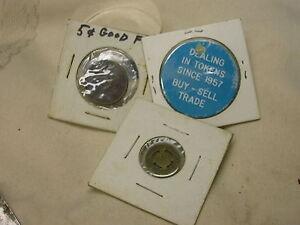 3-Vintage-Tokens-OTR-Mansfield-Rapid-Transit-OHIO-5-Cent-Good-For-Dealing-Token