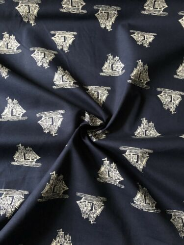"1 Meter Navy Blue Ship Print 100/% Cotton dress fabric Craft Materia45"" Wide New"