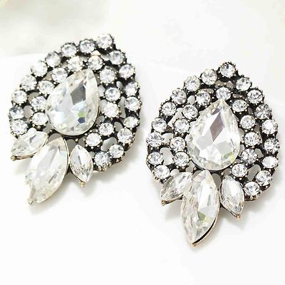 Newest most fashionable sign woman gorgeous statement clear crystal Earrings 651