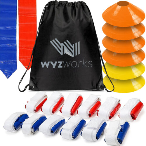 WYZworks Blue /& Red Flags 12 Player 36 Flag Football Set w// 6 Cones /& Travel Bag