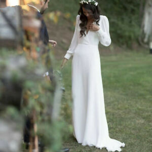Chiffon-A-Line-Beach-Wedding-Dress-Long-Sleeves-V-Neck-Backless-Boho-Bridal-Gown
