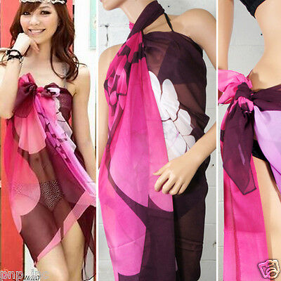 Women Black Pink Floral Pareo Dress Sarong Beach Cover Up Bikini Swimwear Wrap