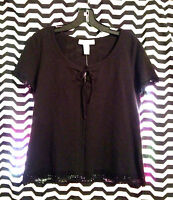 $98 Real Clothes Saks Fifth Avenue Black Crochet Top Shirt Fits S-m
