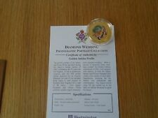 Cook Islands 2007 Diamond Wedding Gold Plated $1 Coin Photo Portrait