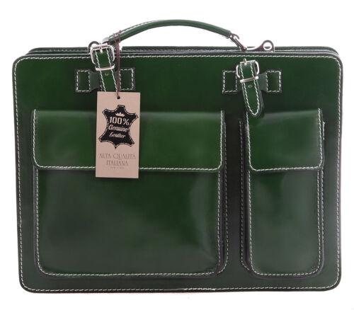 Man/'s handbag briefcase laptop workbag genuine italian leather green 7005 US