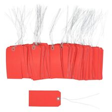 100 Pcs Of 4 34 X 2 38 Size 5 Red Cardstock Hang Tag Tags With Wire 13 Pt