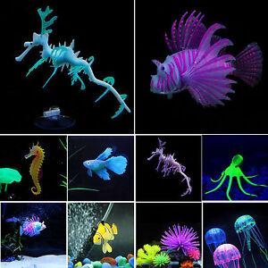 New Artificial Glow Sea Dragon Seahorse Jellyfish Aquariums Fish