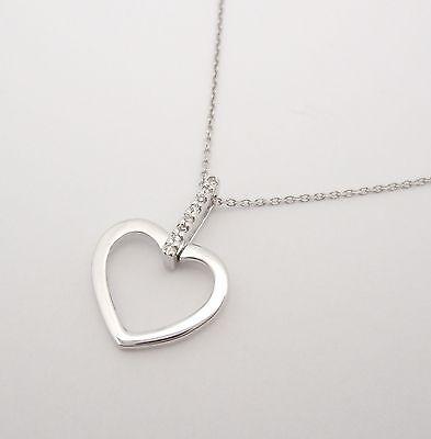 """14K WHITE GOLD DIAMOND HEART PENDANT NECKLACE SMALL OPEN ALL GENUINE 16"""" CHAIN"""