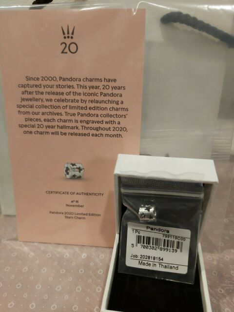 PANDORA 2020 Limited Edition 20th Anniversary November Stars Charm