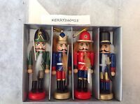4 TRADITIONAL NUTCRACKER CHRISTMAS BAUBLES DECORATIONS TREE ORNAMENTS WOODEN