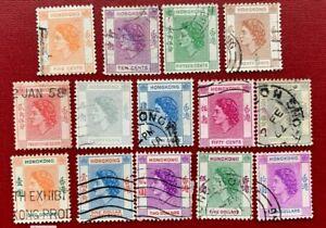 1954-60 Hong Kong Stamps SC#185-198 Used Set CV:$29