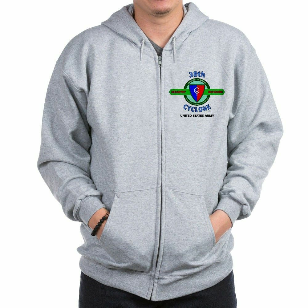 38TH INFANTRY DIVISION WW II  CYCLONE   CAMPAIGN LEFT CHEST ZIPPER HOODIE