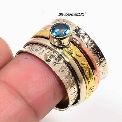 Larimar Stone Ring Solid 925 Sterling Silver Spinner Ring Handmade Jewelry R130