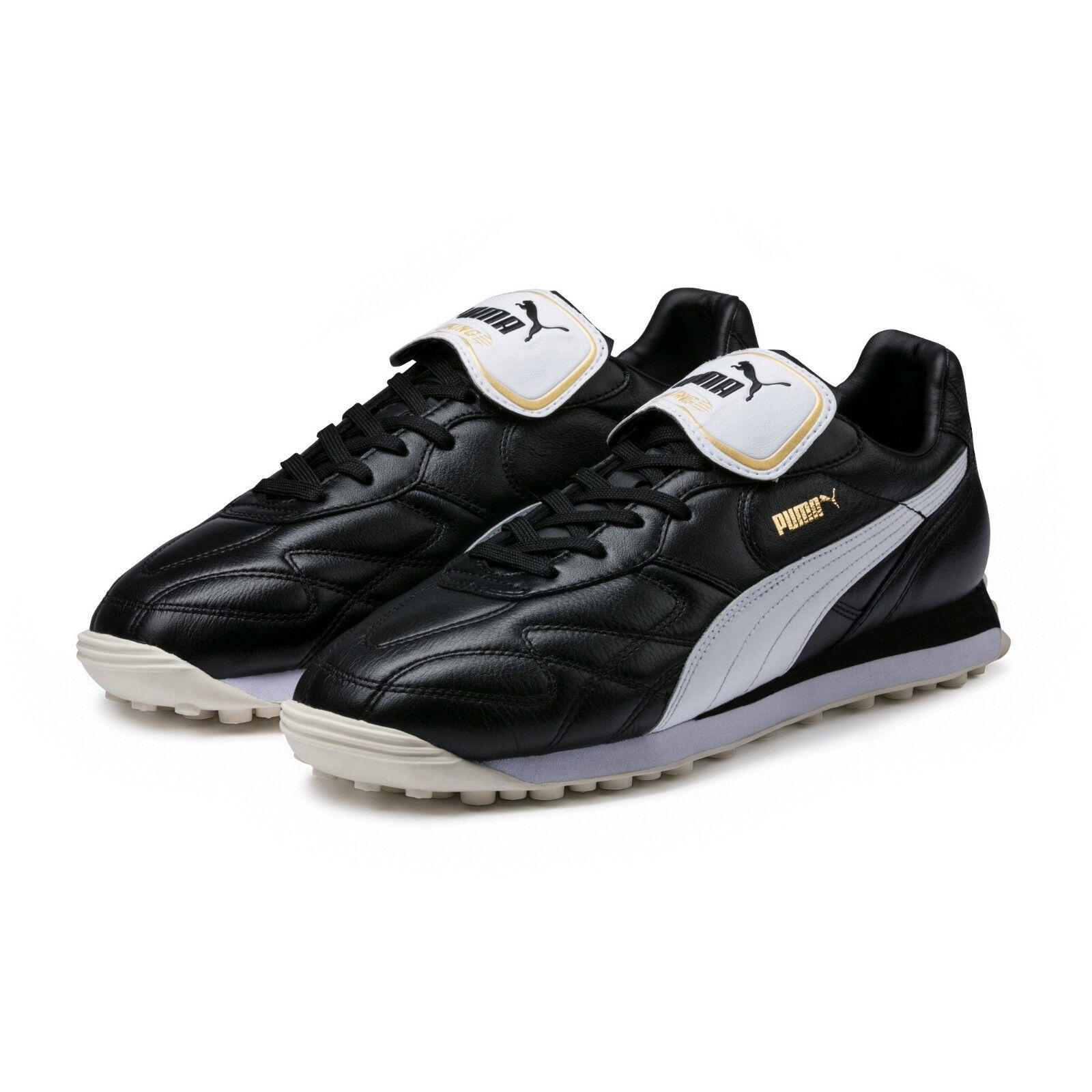 Puma King Avanti Premium Mens Leather Sneakers Black White Size 9.5