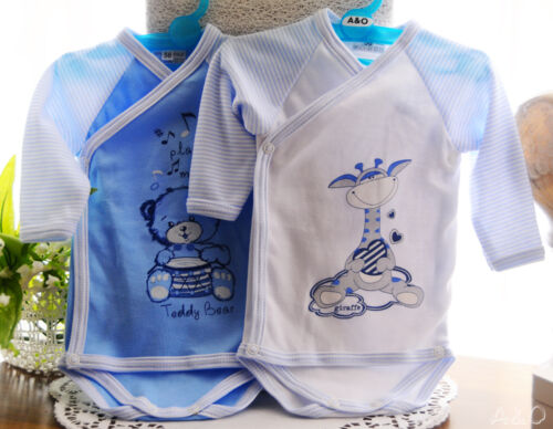 Wickelbody Boby Baby Bodys 2er SET 50 56 62 68  Rosa Blau Creme Unisex Neutral