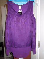 Women's Sz S Purple Tunic Blouse Layered Lace Jennie & Marlis Sleevel