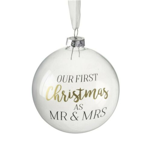 Heaven Sends Our First Christmas as Mr /& Mrs Christmas Bauble Decoration