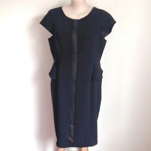 AUTOGRAPH-lined-fitted-dress-Size-22-PVC-feature-stripe-Cap-sleeve-Peplum