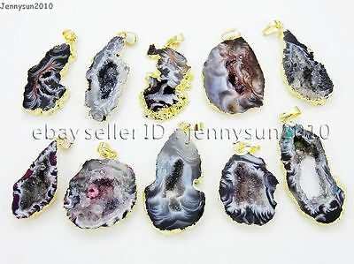 Natural Druzy Quartz Agate Geode Sliced Pendant Gold Edge Charm Beads Necklace