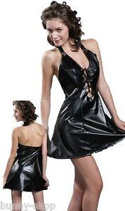 Gothic-Black-Neckholder-Kunstleder-Kleid-mit-glanz-Effekt-Groesse-ca-38-bis-42