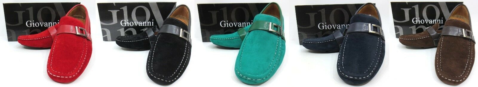 Men's GIOVANNI suede loafers slip on shoes brown black red navy green brown shoes style 9310 303ee6