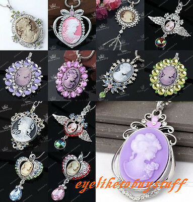 Crystal Rhinestone Resin Cameo Beauty Lady Charm Bead Pendant For Necklace