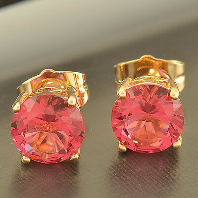 Fashion womens Yellow Gold Filled 1.79 Ctw Ruby Round small Ear Stud Earrings