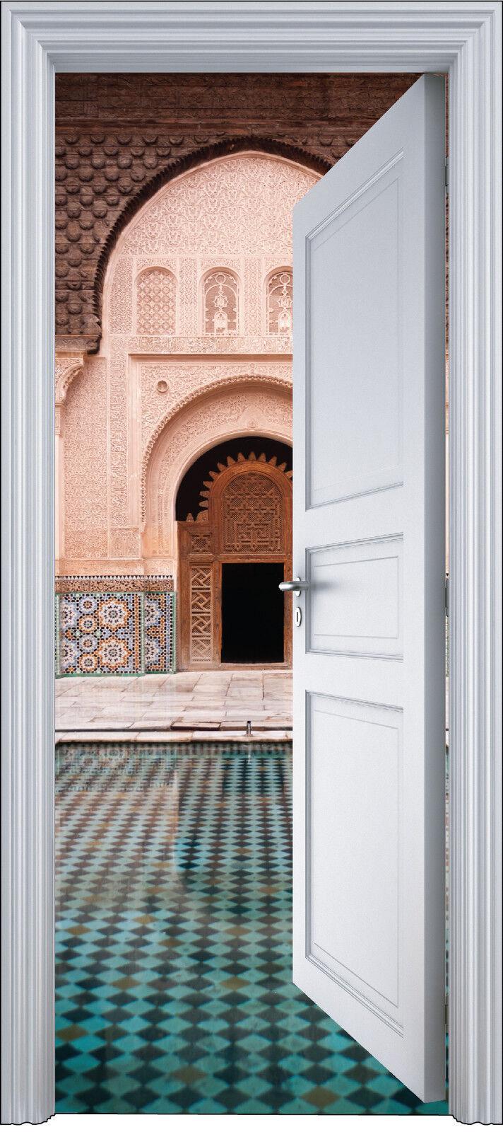 Adhesivo Puerta Trompa Trampantojo Decoración Piscina Oriental 90x200 cm Ref
