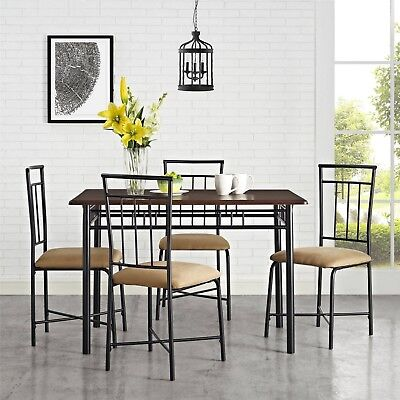 Dinette Set Kitchen Nook Dining 5-Piece Sets Wood Table Top 4 Chairs Home  Dining 604296941940 | eBay