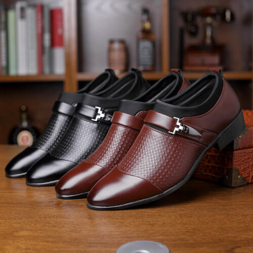 Men Faux Leather Pointed Toe Slip On Metal Buckle Flat Smart Formal Office Shoes