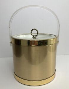 Georges-Briard-Gold-Ice-Bucket-Lucite-Handle-Lid-Vintage-Mid-Century-MCM-Barware