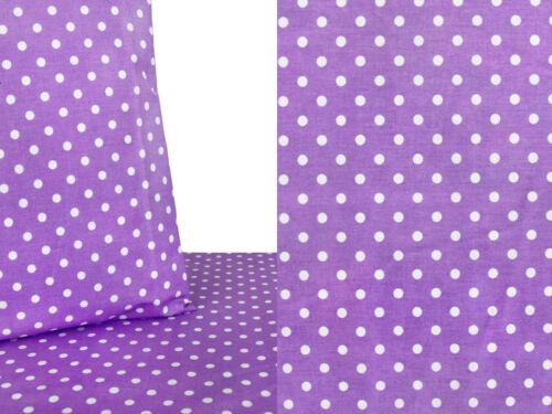 5,90 €//m 50cm de tela de algodón blanca tela decorativa trozos de metal punteada con puntos púrpura