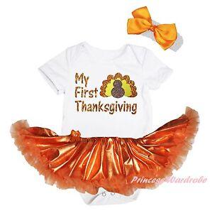 161b8faaa Image is loading My-First-Thanksgiving-Turkey-White-Bodysuit-Girls-Orange-